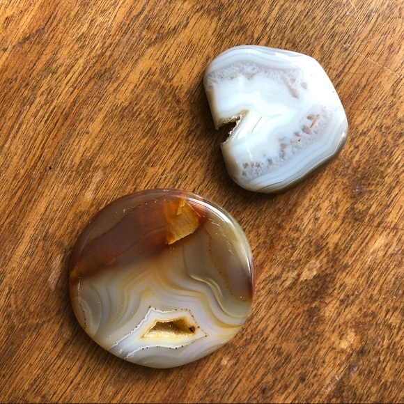 Two large Agate Druzy cabochons
